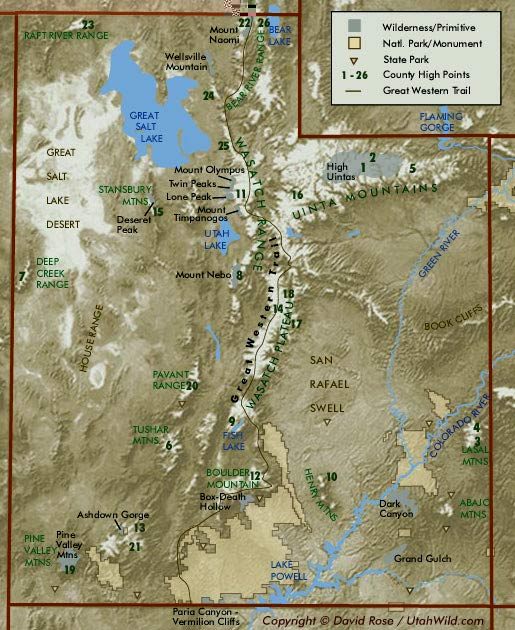 Utah Relief Map With Geographic Features - Map of utah